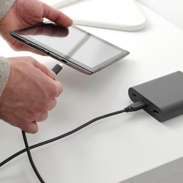 LILLHULT USB type A naar micro-USB, donkergrijs, 1.5 m