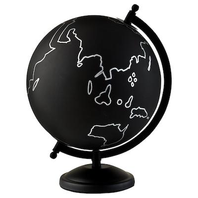 LINDRANDE Decoratie, aardbol zwart/grijs, 28 cm
