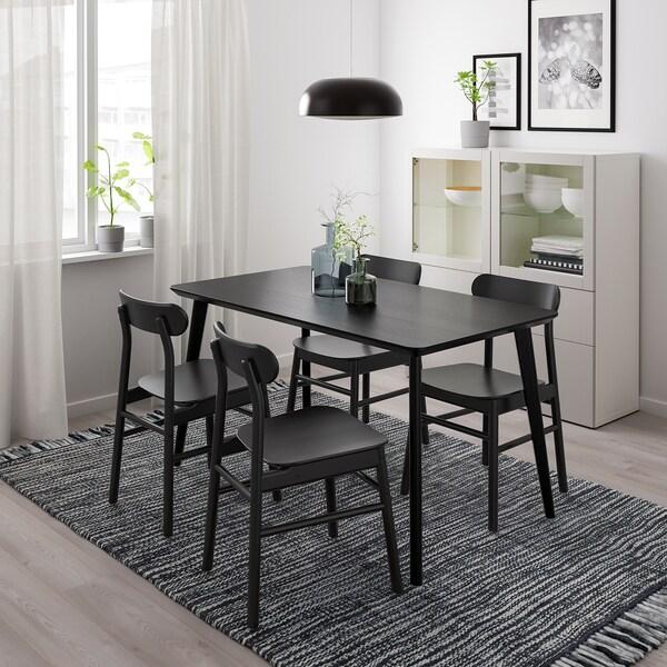 LISABO / RÖNNINGE Tafel en 4 stoelen, zwart/zwart, 140x78 cm