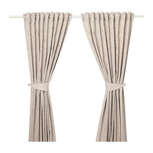 LISABRITT Gordijnen met embrasse, 1 paar Beige 145 x 300 cm - IKEA
