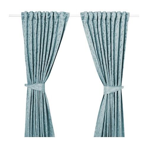 LISABRITT Gordijnen met embrasse, 1 paar Blauw 145 x 300 cm - IKEA