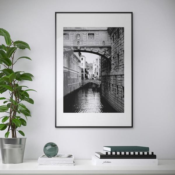 LOMVIKEN Fotolijst, zwart, 61x91 cm
