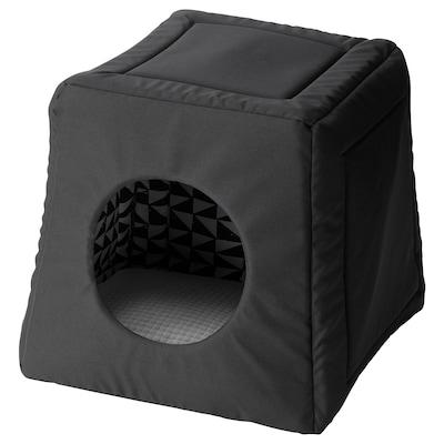 LURVIG Kattenbed/-huis met kussen, zwart wit/lichtgrijs, 38x38x37 cm