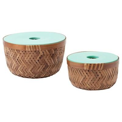 LUSTIGKURRE Mand met deksel set van 2, bamboe/turkoois