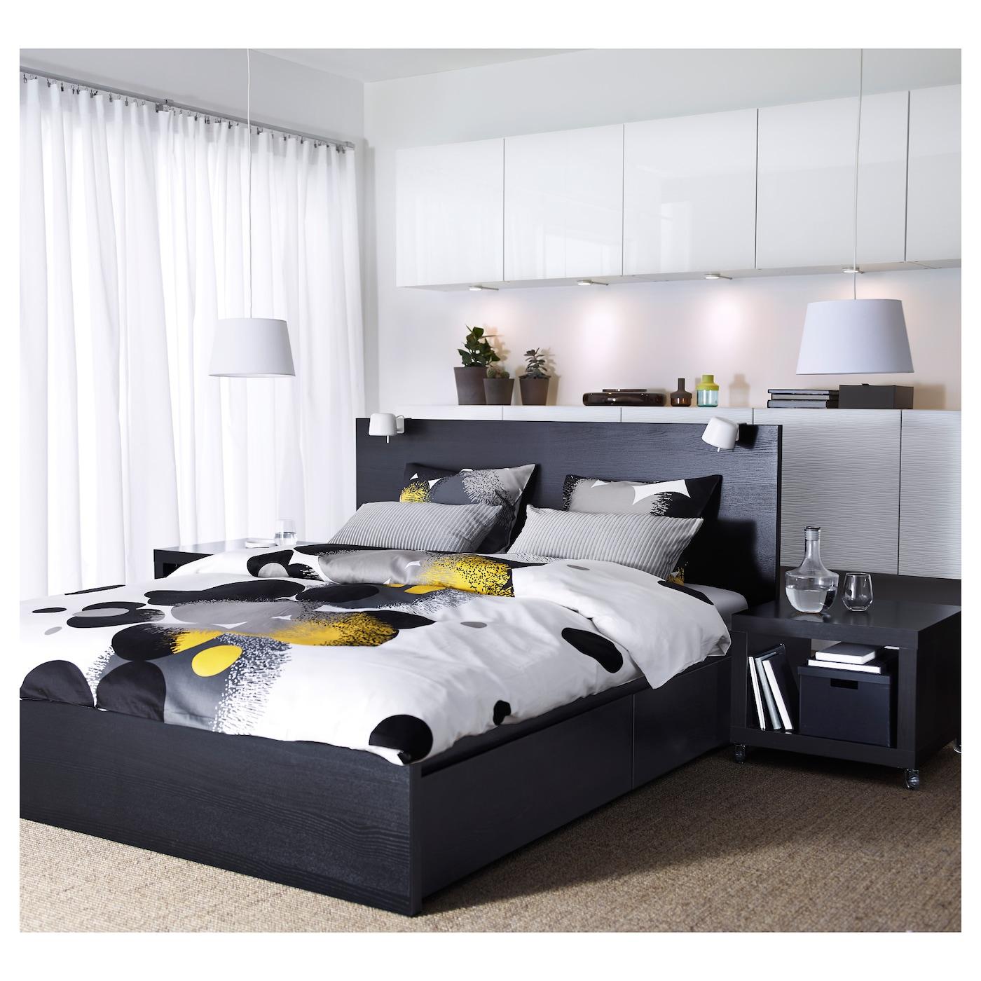 Ikea Malm Tweepersoonsbed Zwart.Bedframe Hoog Met 4 Bedlades Malm Zwartbruin Leirsund