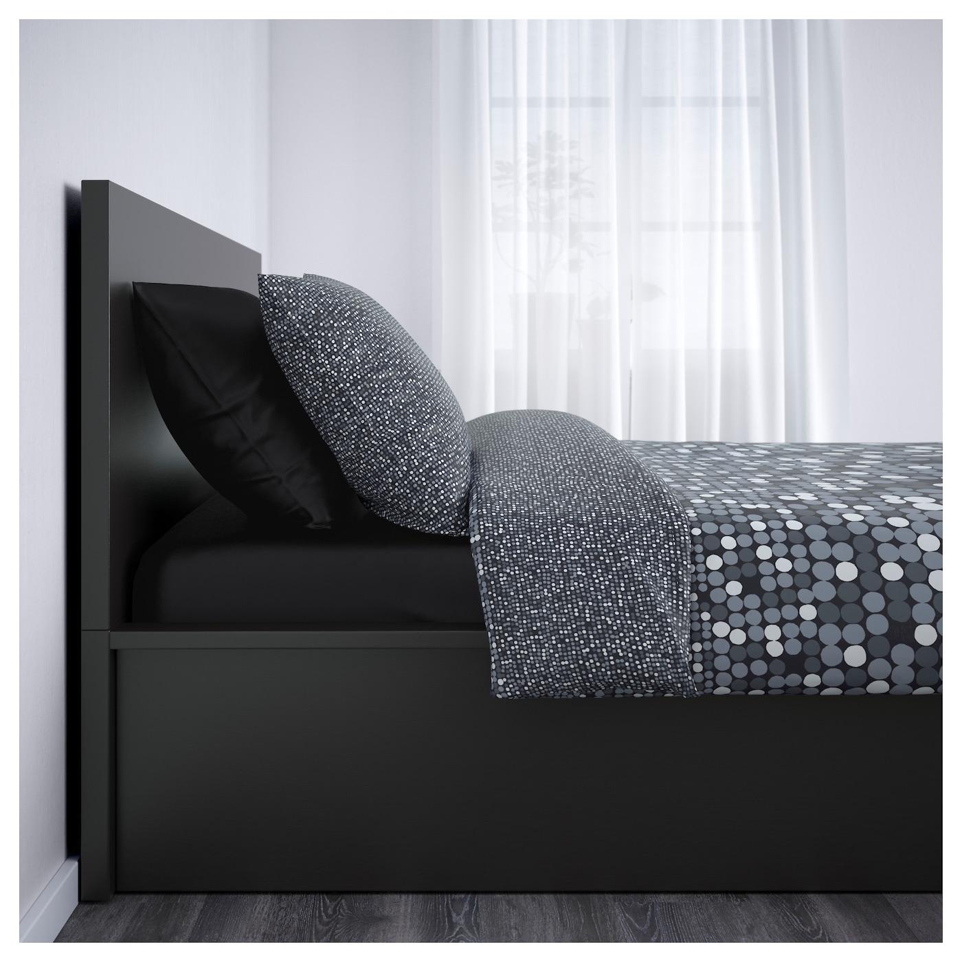 malm bedframe met opbergruimte zwartbruin 180x200 cm ikea. Black Bedroom Furniture Sets. Home Design Ideas