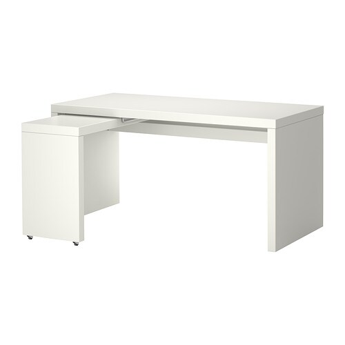 malm bureau met uittrekbaar blad wit ikea. Black Bedroom Furniture Sets. Home Design Ideas