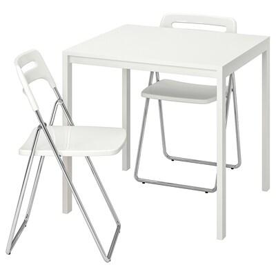 MELLTORP / NISSE Tafel en 2 klapstoelen, wit/wit, 75 cm