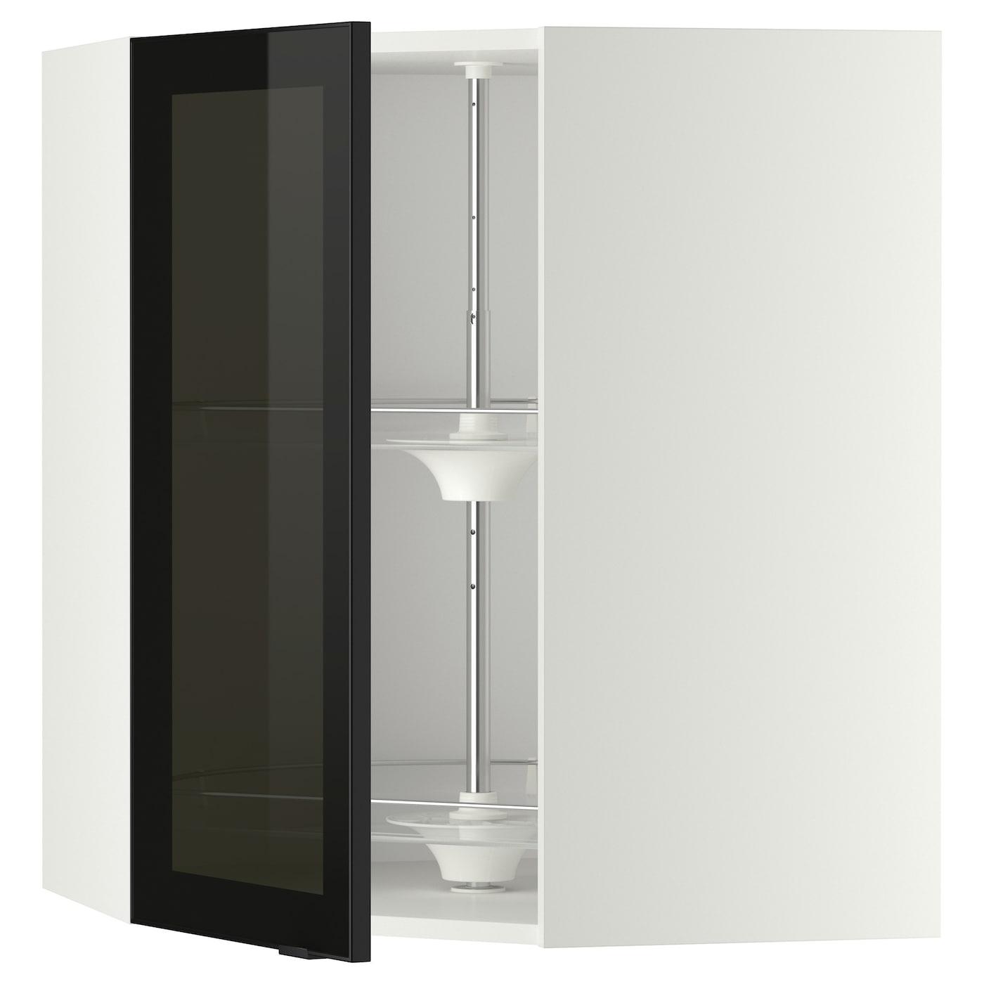 metod bovenhoekkast carrousel vitrinedeur wit jutis rookkleurig glas 68 x 80 cm ikea. Black Bedroom Furniture Sets. Home Design Ideas