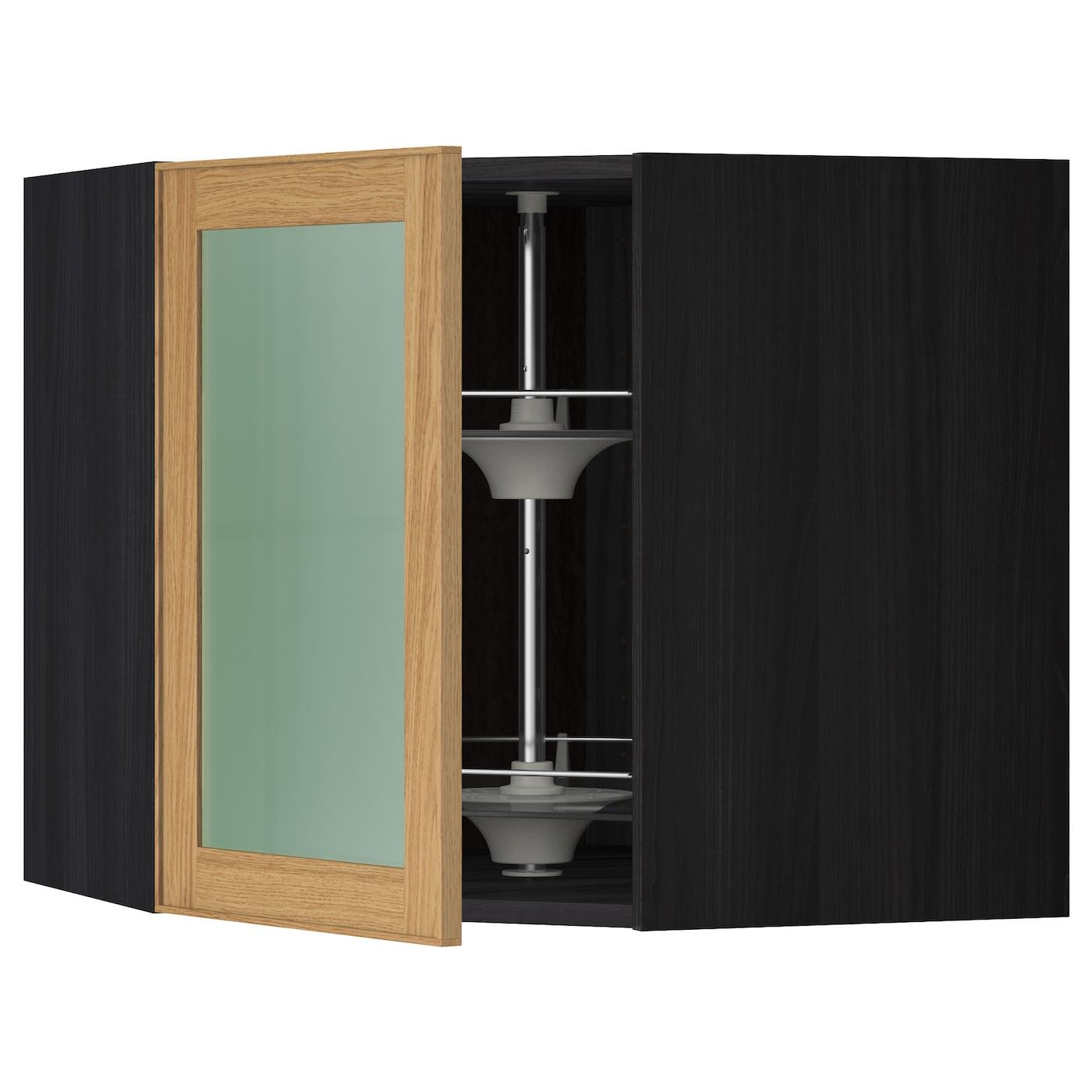 metod bovenhoekkast carrousel vitrinedeur zwart ekestad eiken 68 x 60 cm ikea. Black Bedroom Furniture Sets. Home Design Ideas