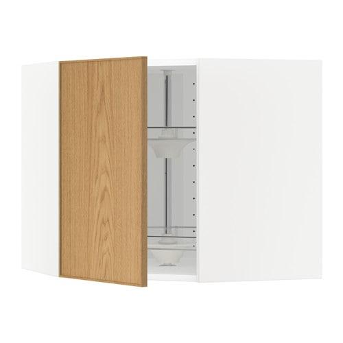 Keuken Carrousel Ikea : Bovenhoekkast met carrousel – wit, Ekestad eiken, 68×60 cm – IKEA