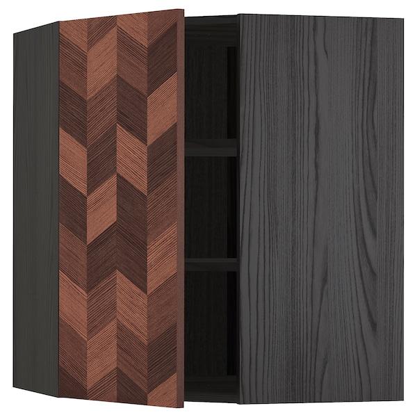 METOD Bovenhoekkast met plank, zwart Hasslarp/bruin met een patroon, 68x80 cm
