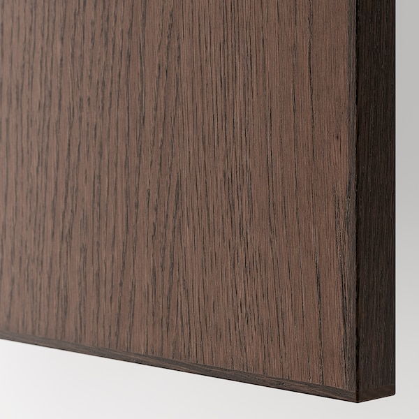 METOD Bovenhoekkast met plank, zwart/Sinarp bruin, 68x80 cm