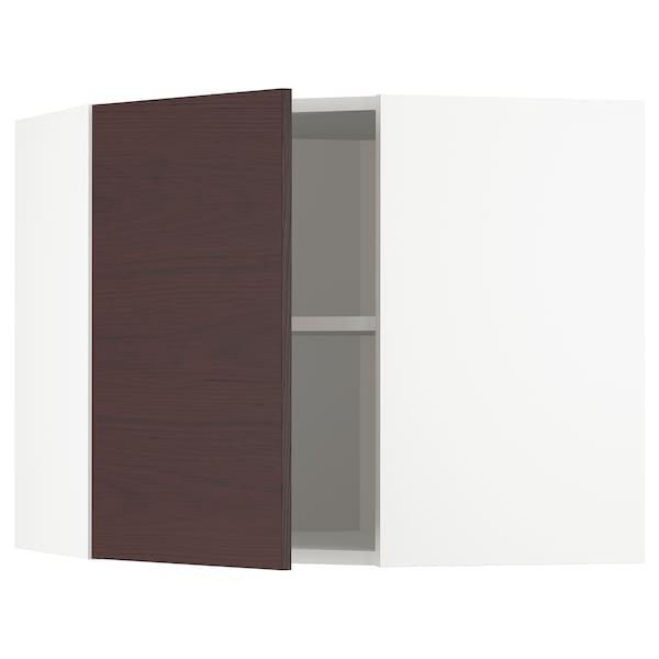 METOD Bovenhoekkast met planken, wit Askersund/donkerbruin essenpatroon, 68x60 cm