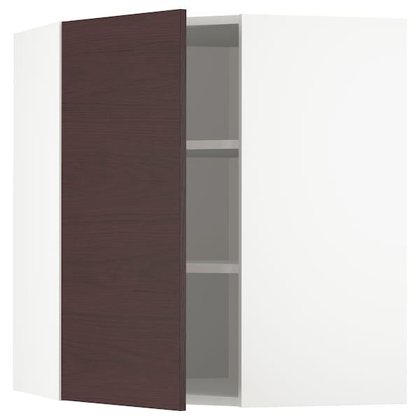 METOD Bovenhoekkast met planken, wit Askersund/donkerbruin essenpatroon, 68x80 cm