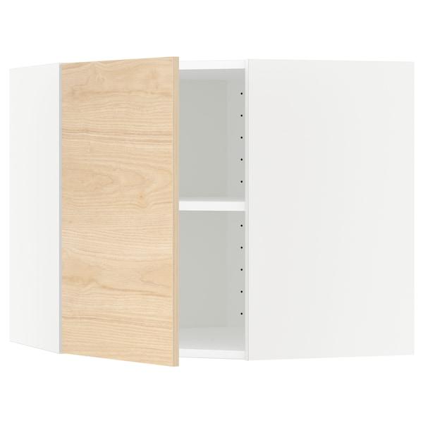 METOD Bovenhoekkast met planken, wit/Askersund licht essenpatroon, 68x60 cm