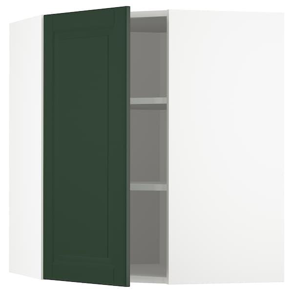 METOD Bovenhoekkast met planken, wit/Bodbyn donkergroen, 68x80 cm