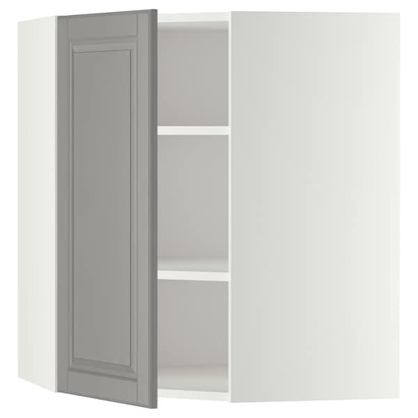 METOD Bovenhoekkast met planken, wit/Bodbyn grijs, 68x80 cm