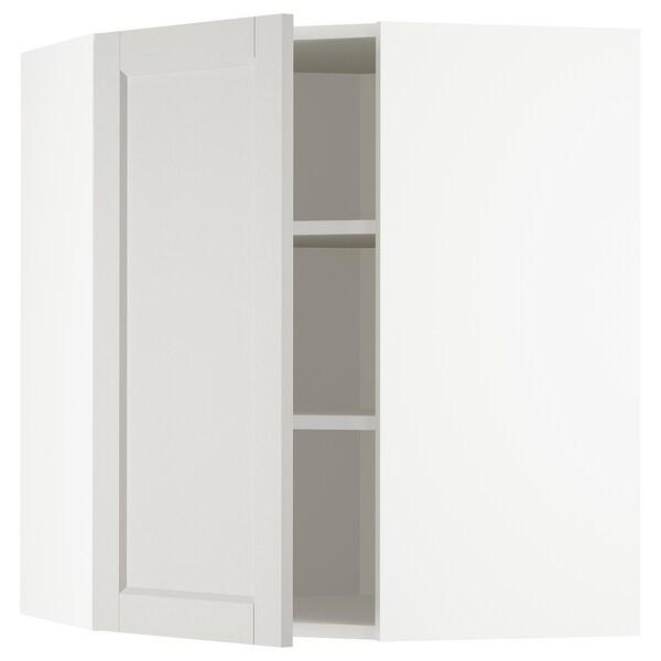 METOD Bovenhoekkast met planken, wit/Lerhyttan lichtgrijs, 68x80 cm