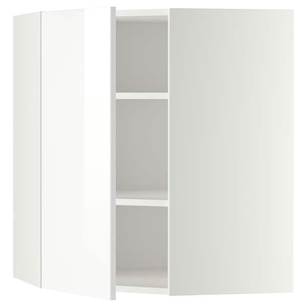 METOD Bovenhoekkast met planken, wit/Ringhult wit, 68x80 cm