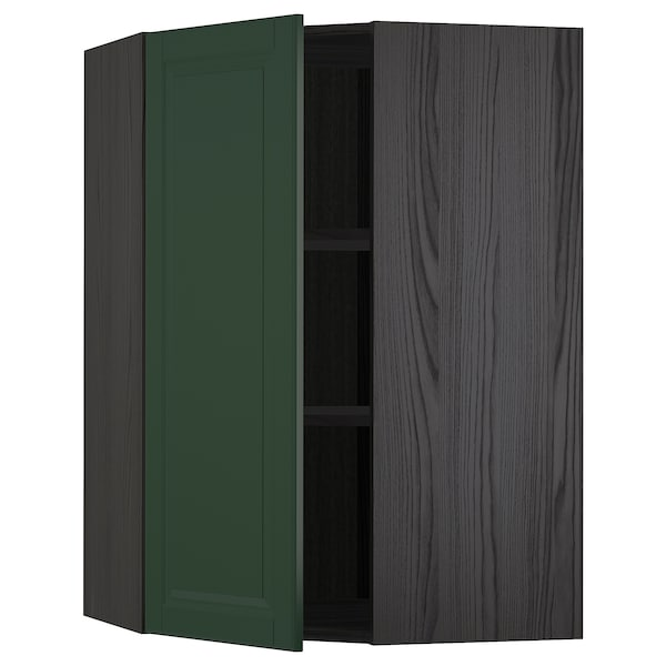 METOD Bovenhoekkast met planken, zwart/Bodbyn donkergroen, 68x100 cm