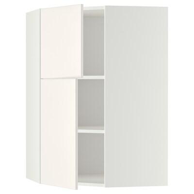 METOD Bovenhoekkast&plank/2 deuren, wit/Veddinge wit, 68x100 cm