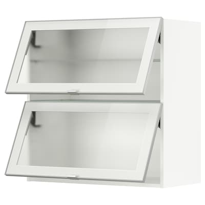 METOD Bovenkast horizont m 2 vitrinedeur, wit/Jutis frosted glas, 80x80 cm