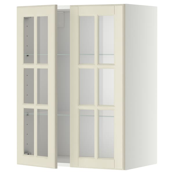 METOD Bovenkast m planken/2 vitrinedeuren, wit/Bodbyn ecru, 60x80 cm