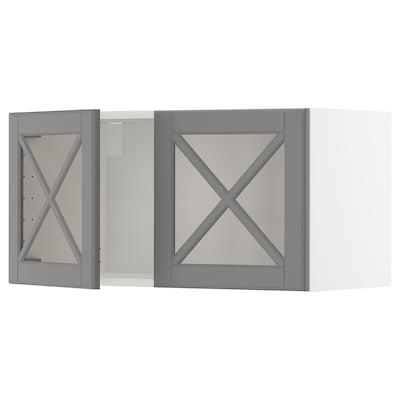 METOD Bovenkast met 2 vitrinedeuren, wit/Bodbyn grijs, 80x40 cm
