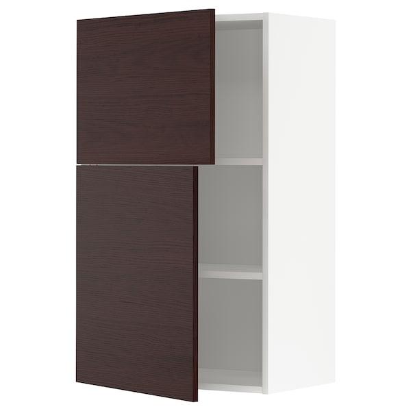 METOD Bovenkast met planken/2 deuren, wit Askersund/donkerbruin essenpatroon, 60x100 cm