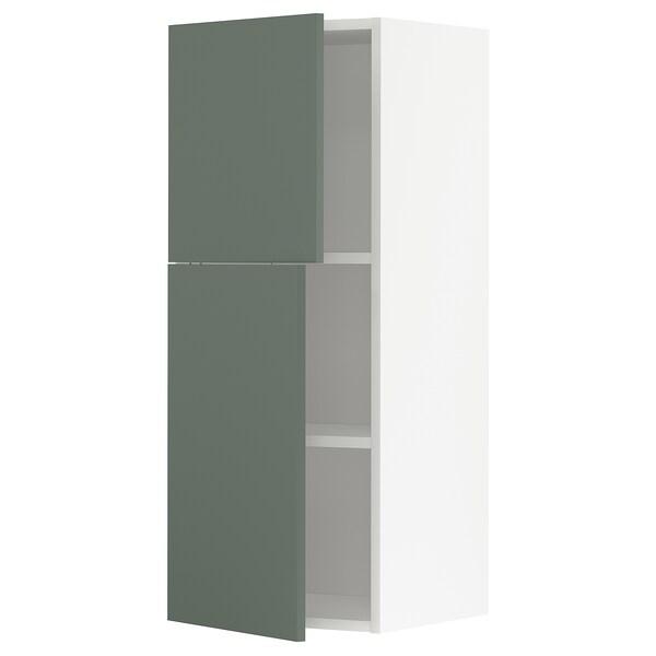 METOD Bovenkast met planken/2 deuren, wit/Bodarp grijsgroen, 40x100 cm