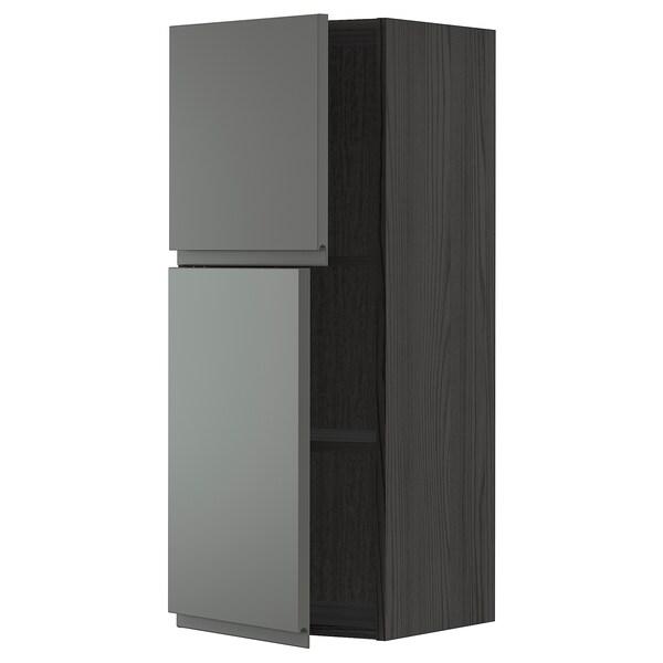 METOD Bovenkast met planken/2 deuren, zwart/Voxtorp donkergrijs, 40x100 cm