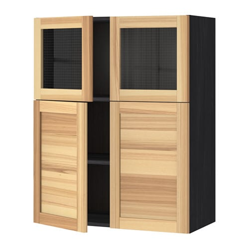 metod bovenkast plank 2deur 2vitrinedeur houteffect zwart torhamn naturel essen ikea. Black Bedroom Furniture Sets. Home Design Ideas