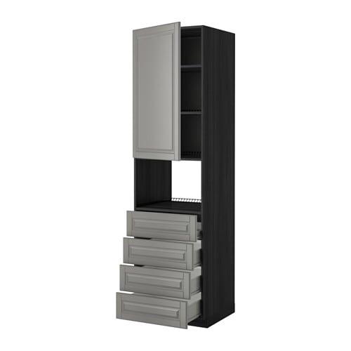 METOD    F u00d6RVARA Hoge kast magn  u0026 deur  4 lades   houteffect zwart, Bodbyn grijs, 60x60x220 cm   IKEA