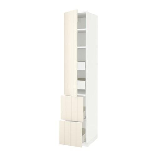 Metod f rvara hoge kast plank 4 lade deur 2 front wit hittarp ecru 40x60x220 cm ikea - Kleur plank ...