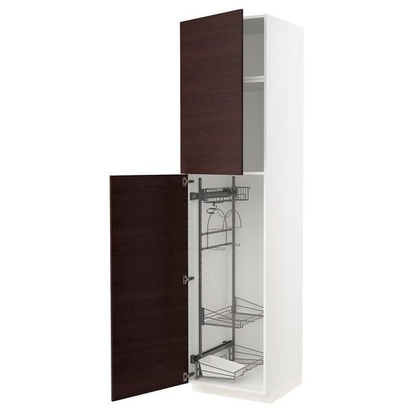 METOD Hoge kast & inrichting schoonmkast, wit Askersund/donkerbruin essenpatroon, 60x60x240 cm