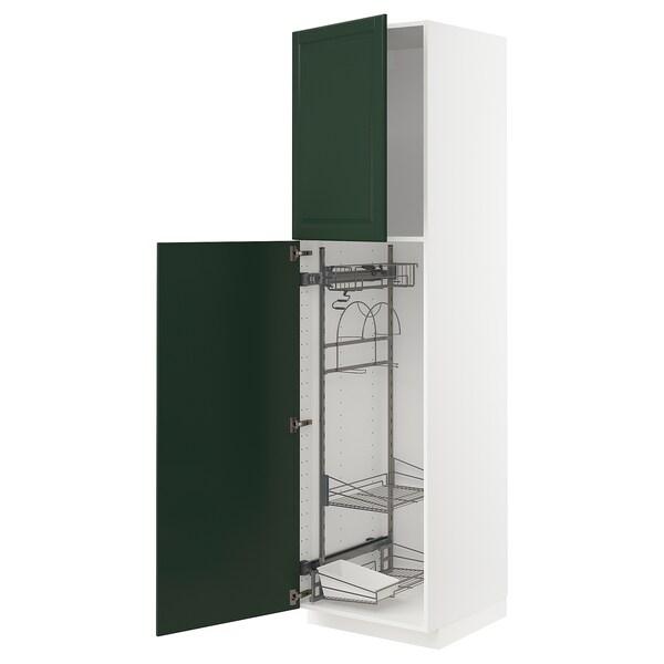METOD Hoge kast & inrichting schoonmkast, wit/Bodbyn donkergroen, 60x60x220 cm