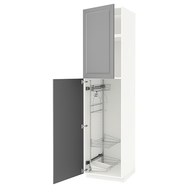METOD Hoge kast & inrichting schoonmkast, wit/Bodbyn grijs, 60x60x240 cm