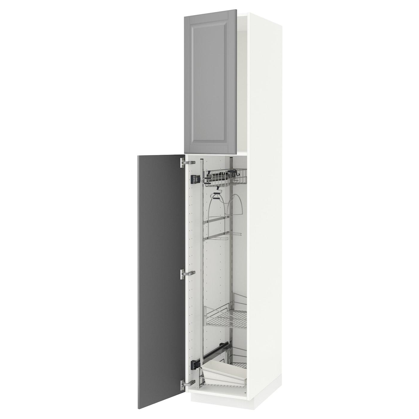metod hoge kast inrichting schoonmkast wit bodbyn grijs 40 x 60 x 220 cm ikea. Black Bedroom Furniture Sets. Home Design Ideas