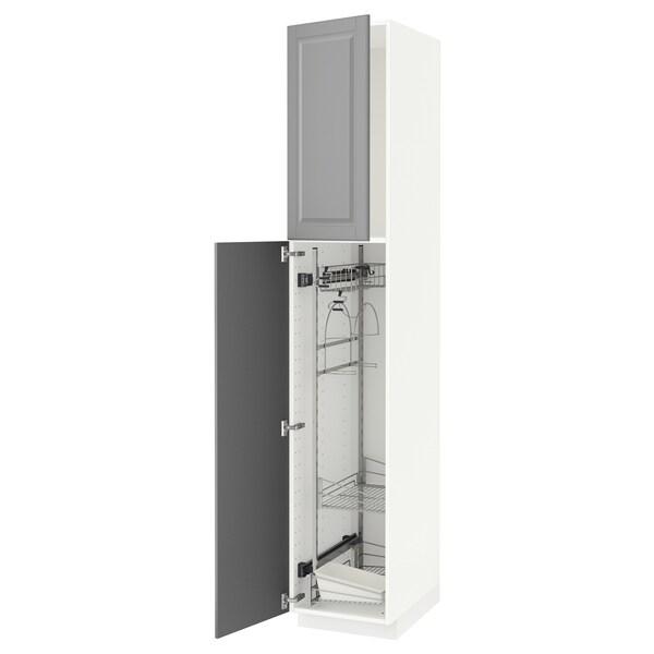 METOD Hoge kast & inrichting schoonmkast, wit/Bodbyn grijs, 40x60x220 cm
