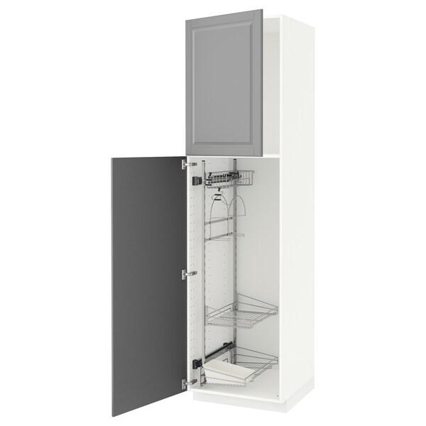 METOD Hoge kast & inrichting schoonmkast, wit/Bodbyn grijs, 60x60x220 cm