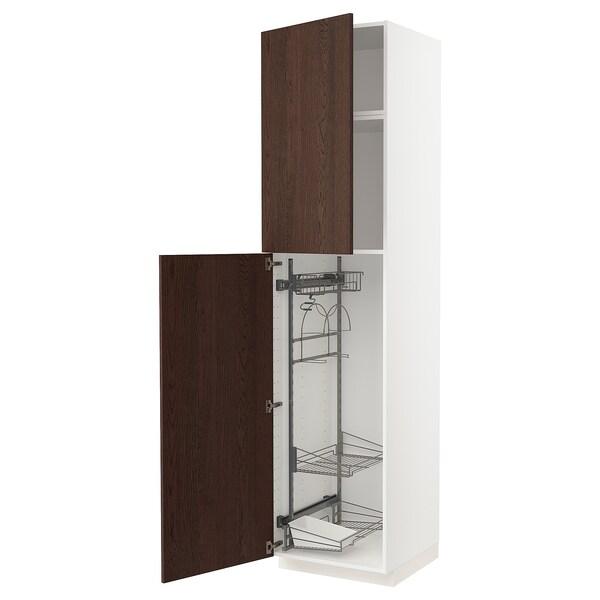 METOD Hoge kast & inrichting schoonmkast, wit/Sinarp bruin, 60x60x240 cm