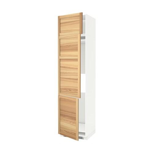 METOD Hoge kast koelk  vriezer + 3 deuren   wit, Torhamn naturel essen, 60x60x240 cm   IKEA