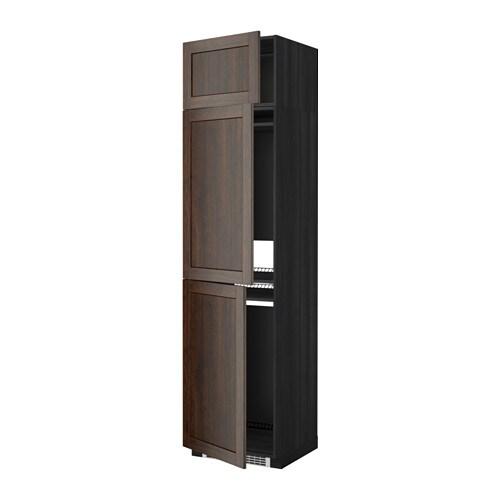METOD Hoge kast koelk  vriezer + 3 deuren   houteffect zwart, Edserum houteffect bruin   IKEA