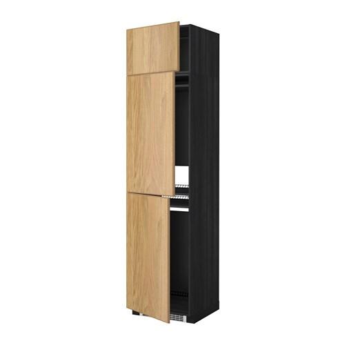 METOD Hoge kast koelk  vriezer + 3 deuren   houteffect zwart, Hyttan eikenfineer   IKEA