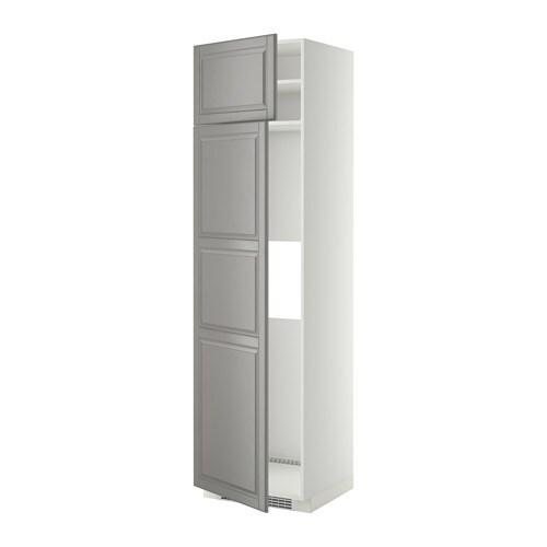 METOD Hoge kast koelkast of vriezer 2 deu   wit, Bodbyn grijs, 60x60x220 cm   IKEA
