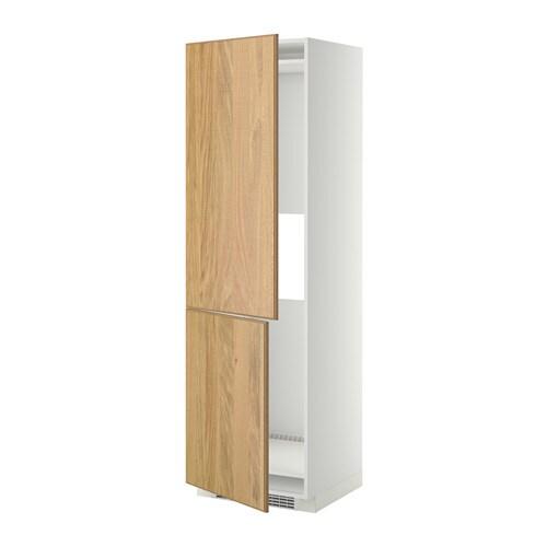 METOD Hoge kast koelkast of vriezer 2 deu   wit, Hyttan eikenfineer, 60x60x200 cm   IKEA