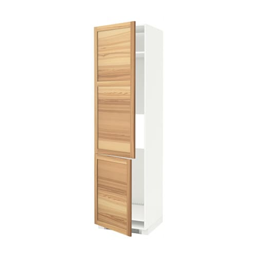METOD Hoge kast koelkast  vriezer u00262 deuren   wit, Torhamn naturel essen   IKEA