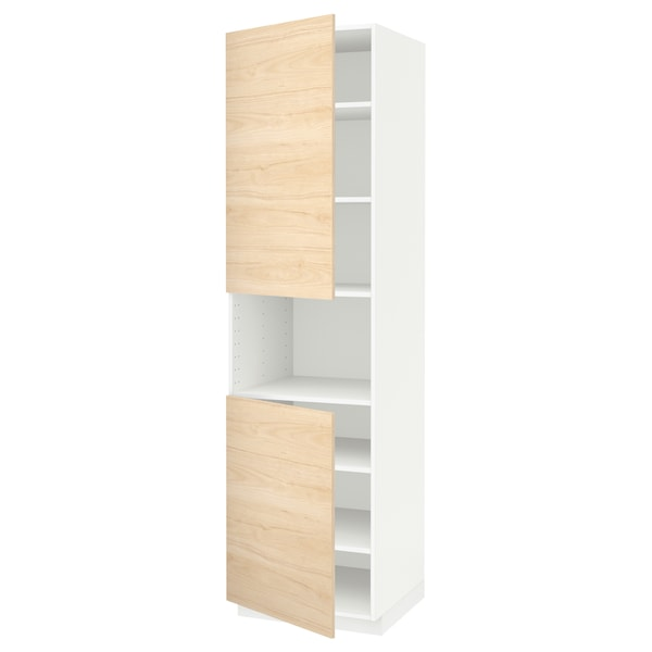 METOD Hoge kast magn m 2deur/plank, wit/Askersund licht essenpatroon, 60x60x220 cm