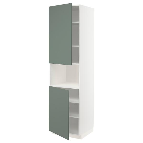 METOD Hoge kast magn m 2deur/plank, wit/Bodarp grijsgroen, 60x60x220 cm